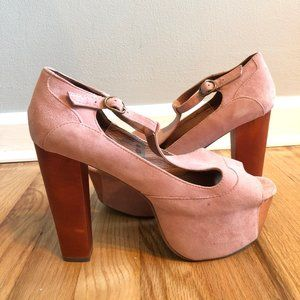 Jeffrey Campbell Pink Suede Foxy Wood size 8